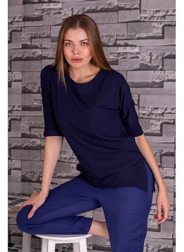 Stamina  Bayan Açık Bisiket Yaka Yarım Kollu Bluz-5VS15 Lacivert
